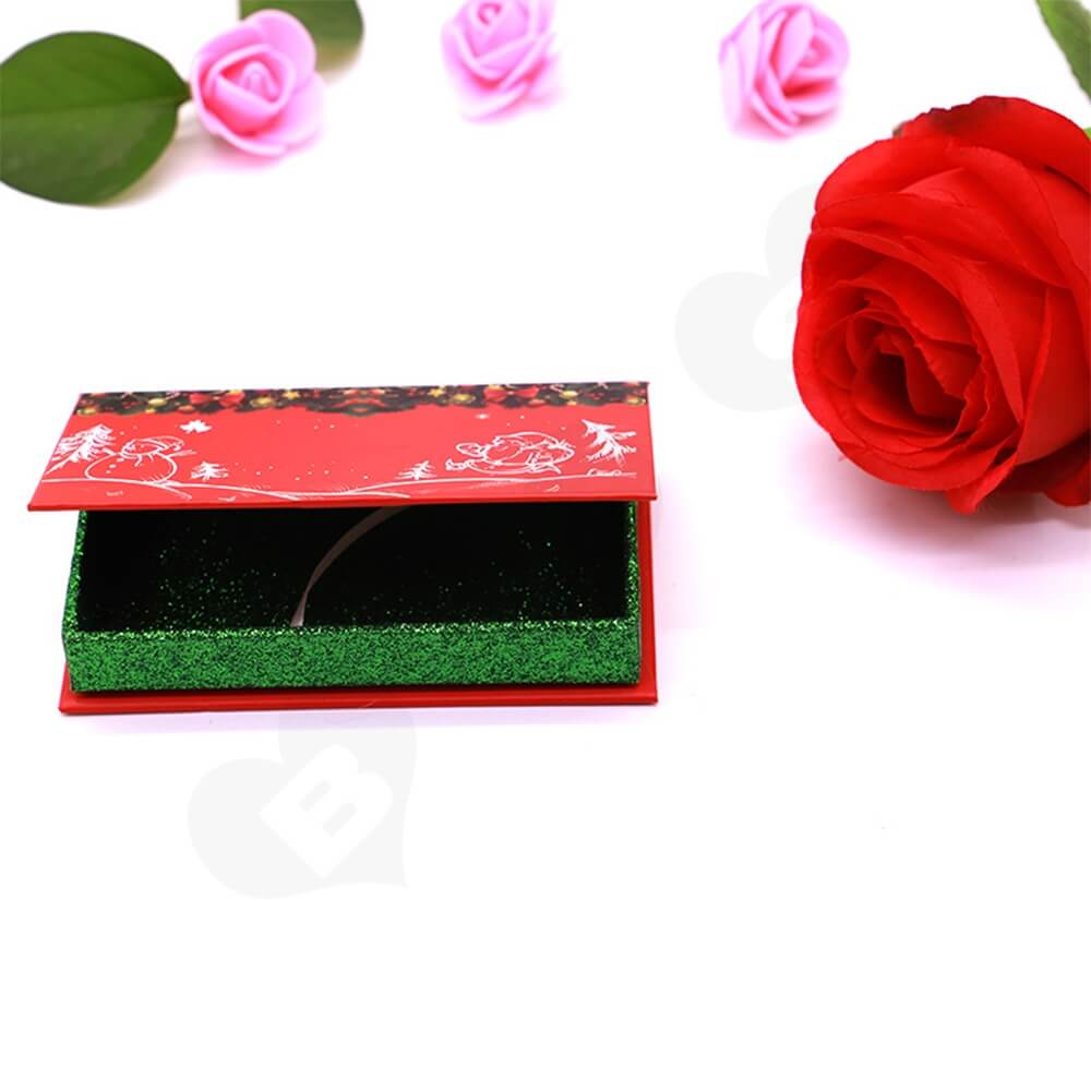 Custom Christmas Color Eyelash Packaging Box Side View Two