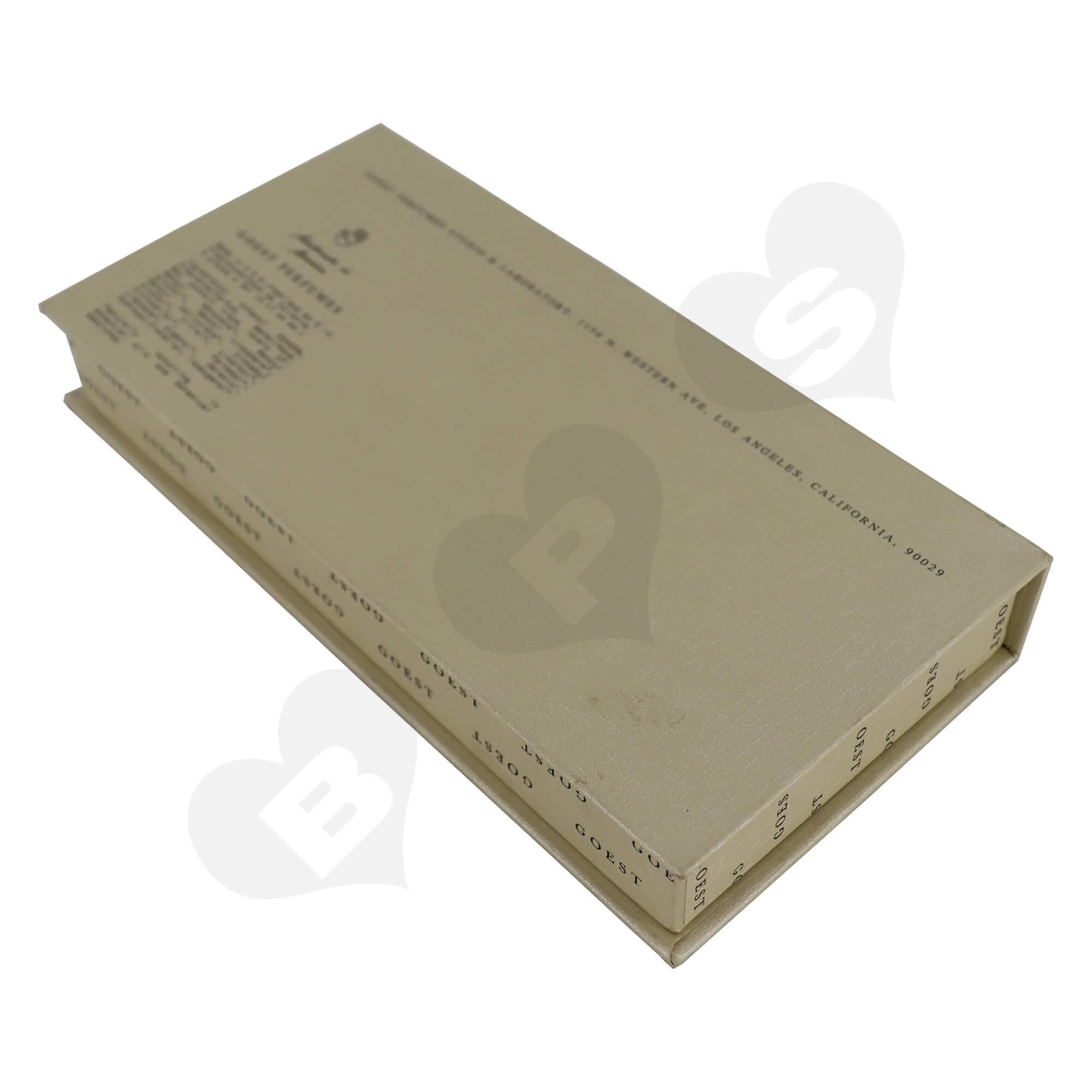 Custom Hinged Lid Book Shape Box For Packing Perfume Trial Kit Side View Three