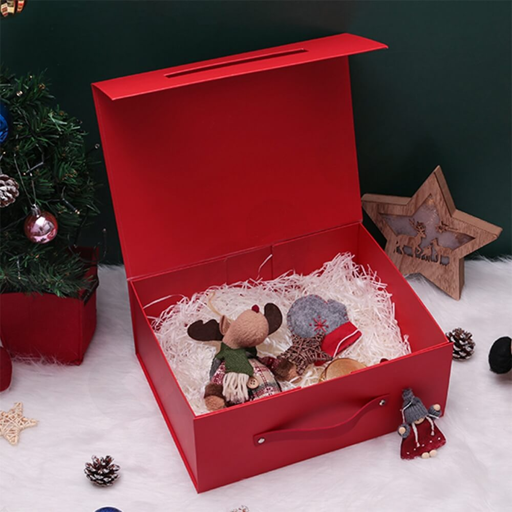 Custom Matte Christmas Gift Packaging Box Magnetic Closure Side View Five
