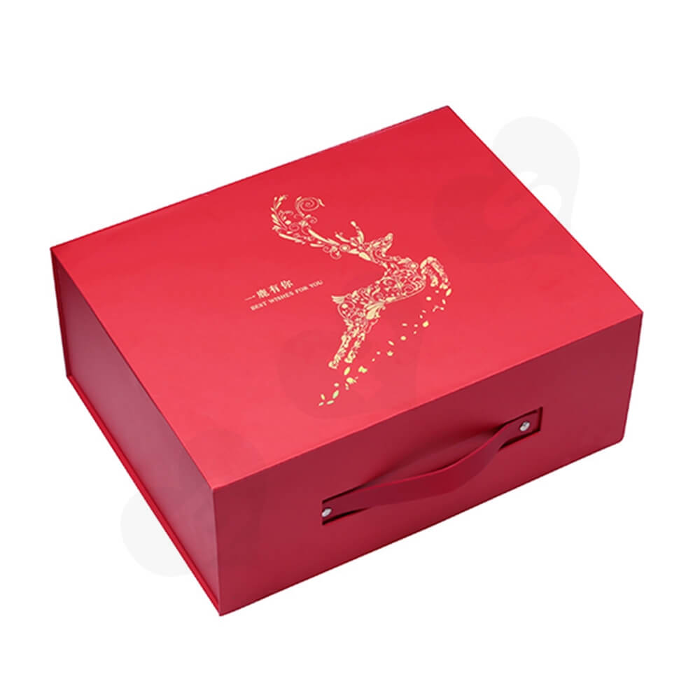Custom Matte Christmas Gift Packaging Box Magnetic Closure Side View One