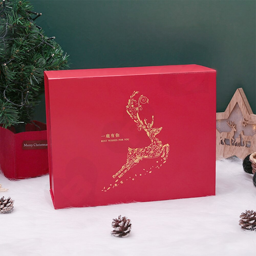 Custom Matte Christmas Gift Packaging Box Magnetic Closure Side View Three