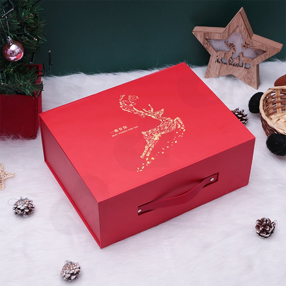 Custom Matte Christmas Gift Packaging Box Magnetic Closure Side View Two