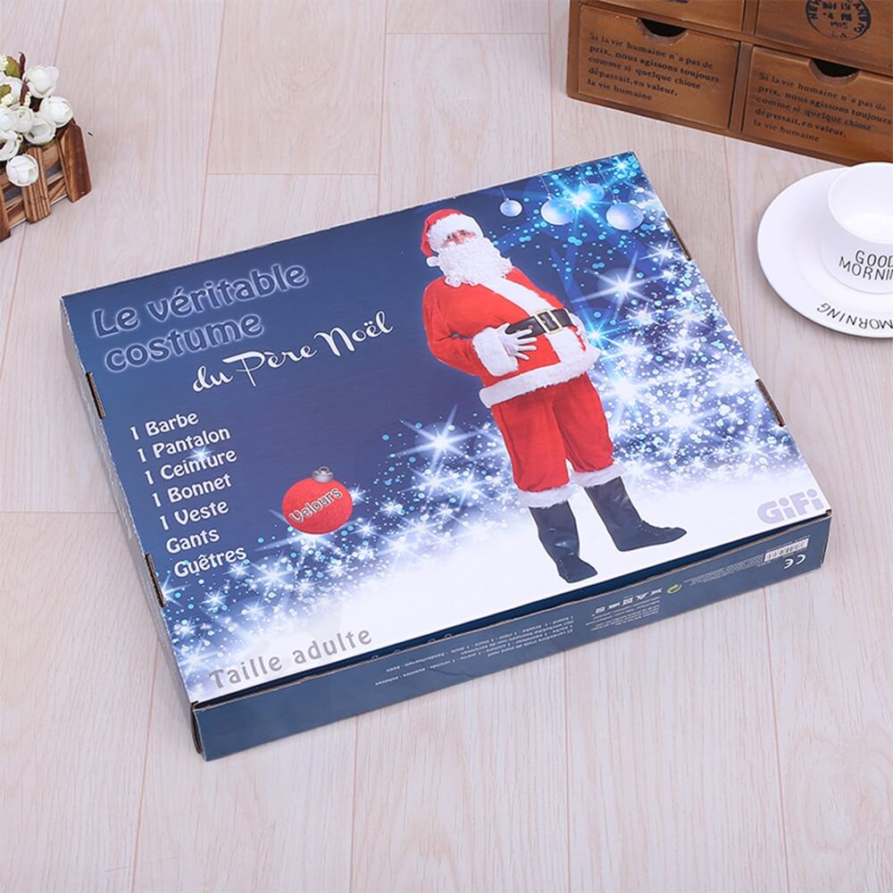 Custom Printed Christmas Apparel Shipping Packaging Box Side View Two