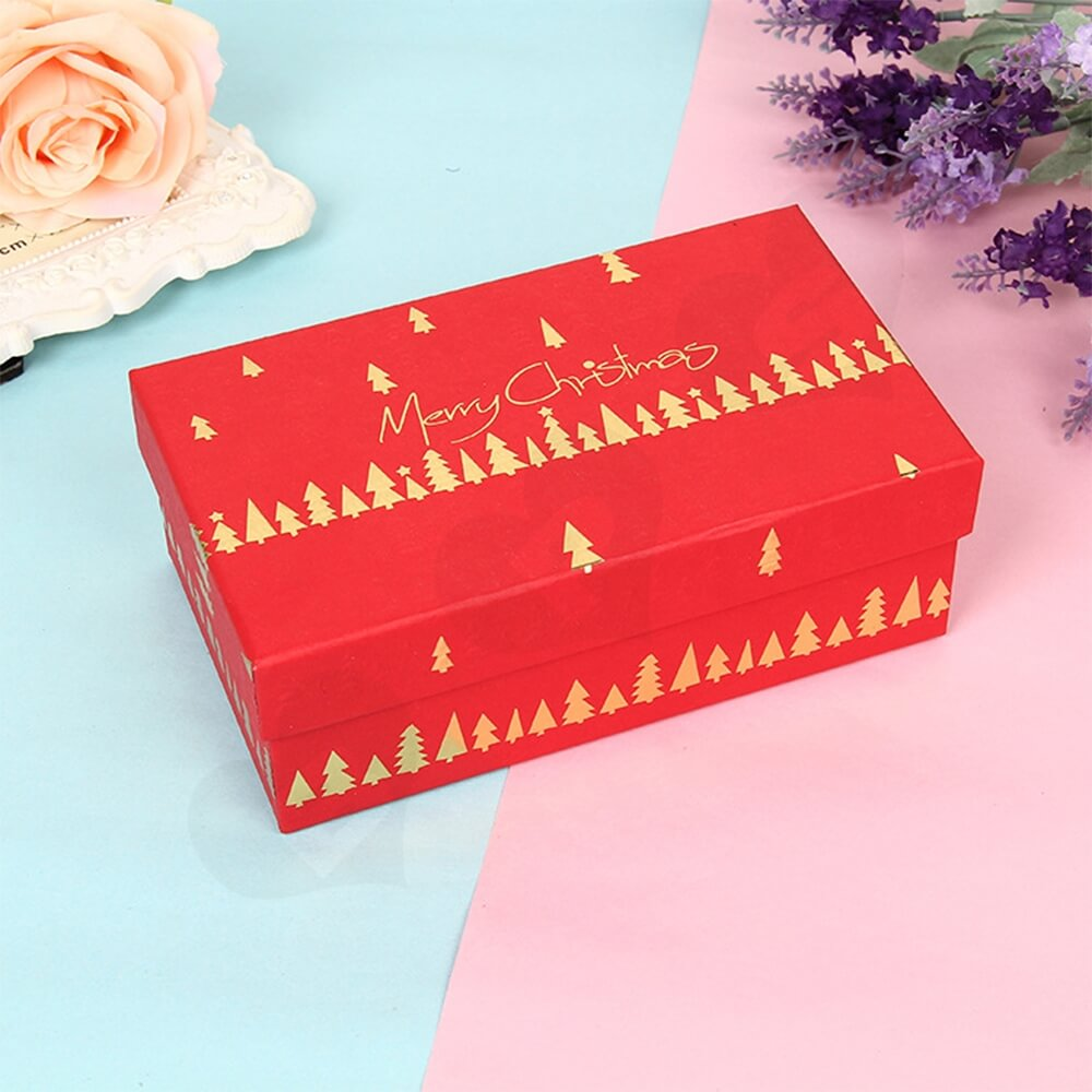 Custom Printed Christmas Gift Packaging Box With Detachable Lid Side View Five