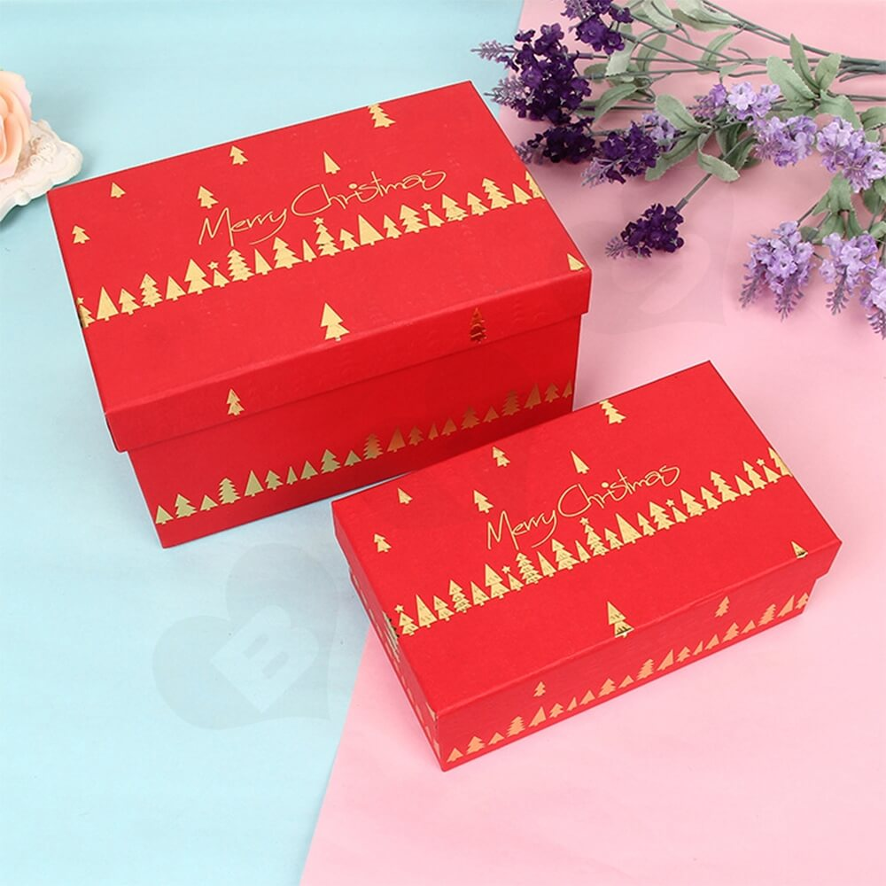 Custom Printed Christmas Gift Packaging Box With Detachable Lid Side View Four