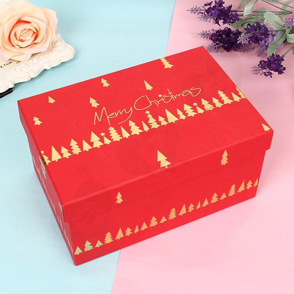Custom Printed Christmas Gift Packaging Box With Detachable Lid Side View One