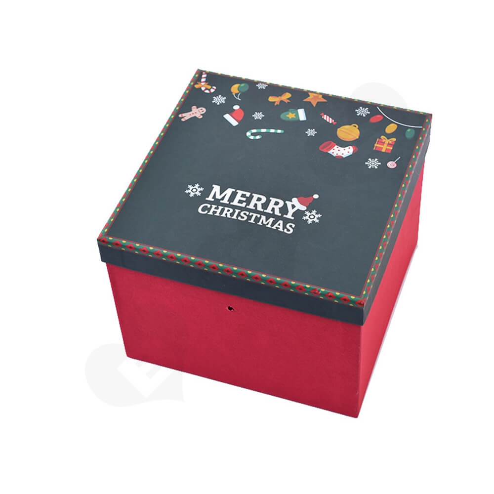 Custom Printed Cube Shape Christmas Season Gift Box Side View One