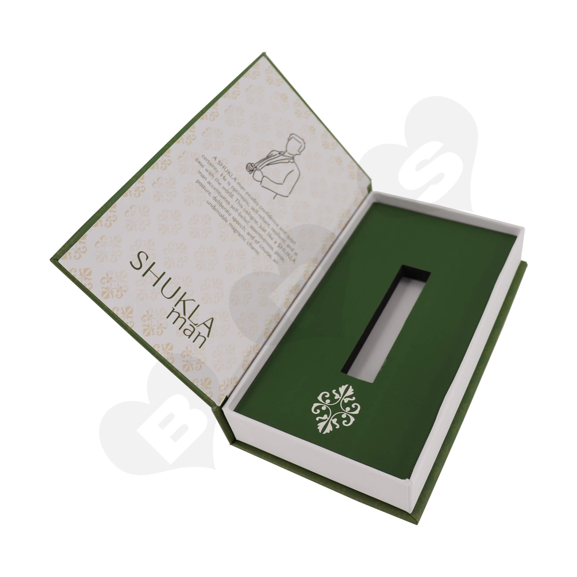 Customized Book Shape Rigid Gift Box For Packing Men Perfume Bottle Side View One