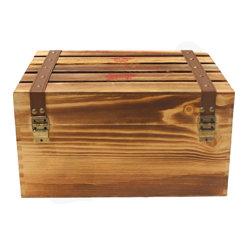 Classical Wooden Storage Box For Six Pack Wine Side View Five