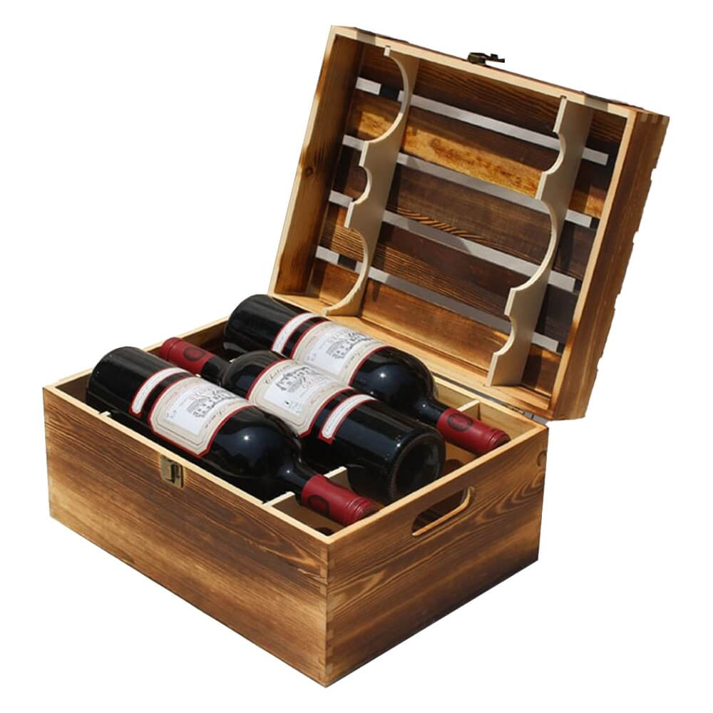 Classical Wooden Storage Box For Six Pack Wine Side View One
