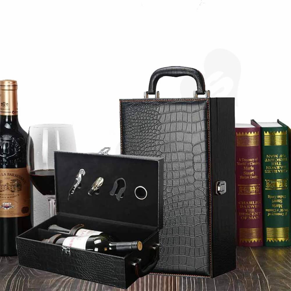 Crocodile Pattern Wine Box Kit With Handle Side View Four