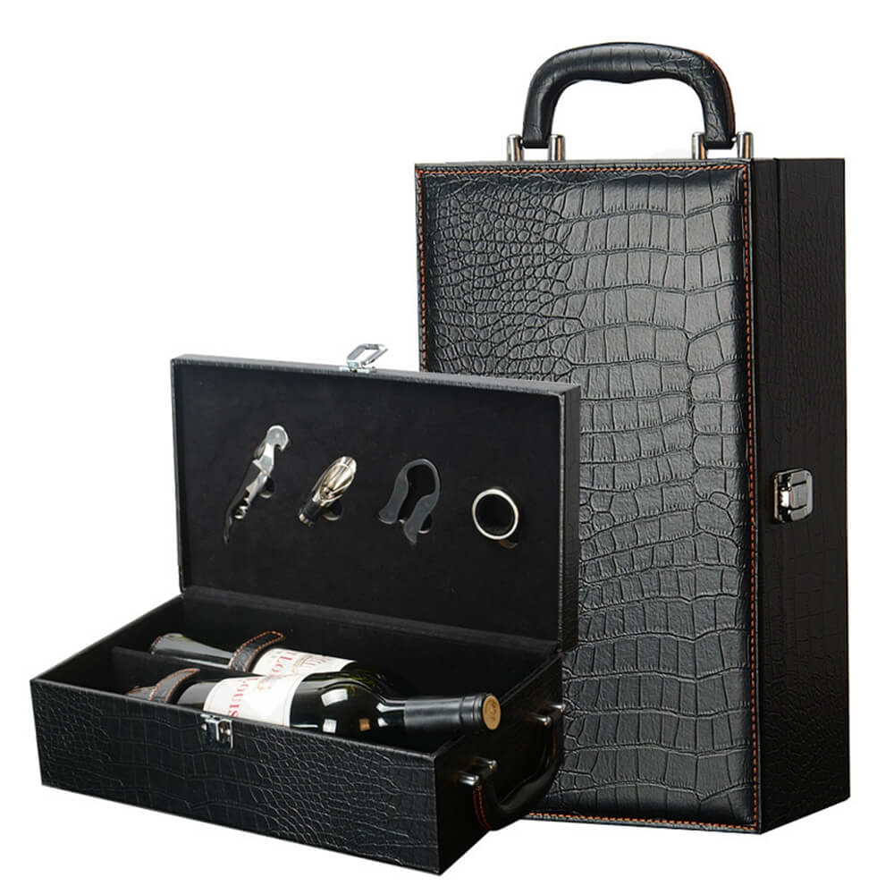Crocodile Pattern Wine Box Kit With Handle Side View One