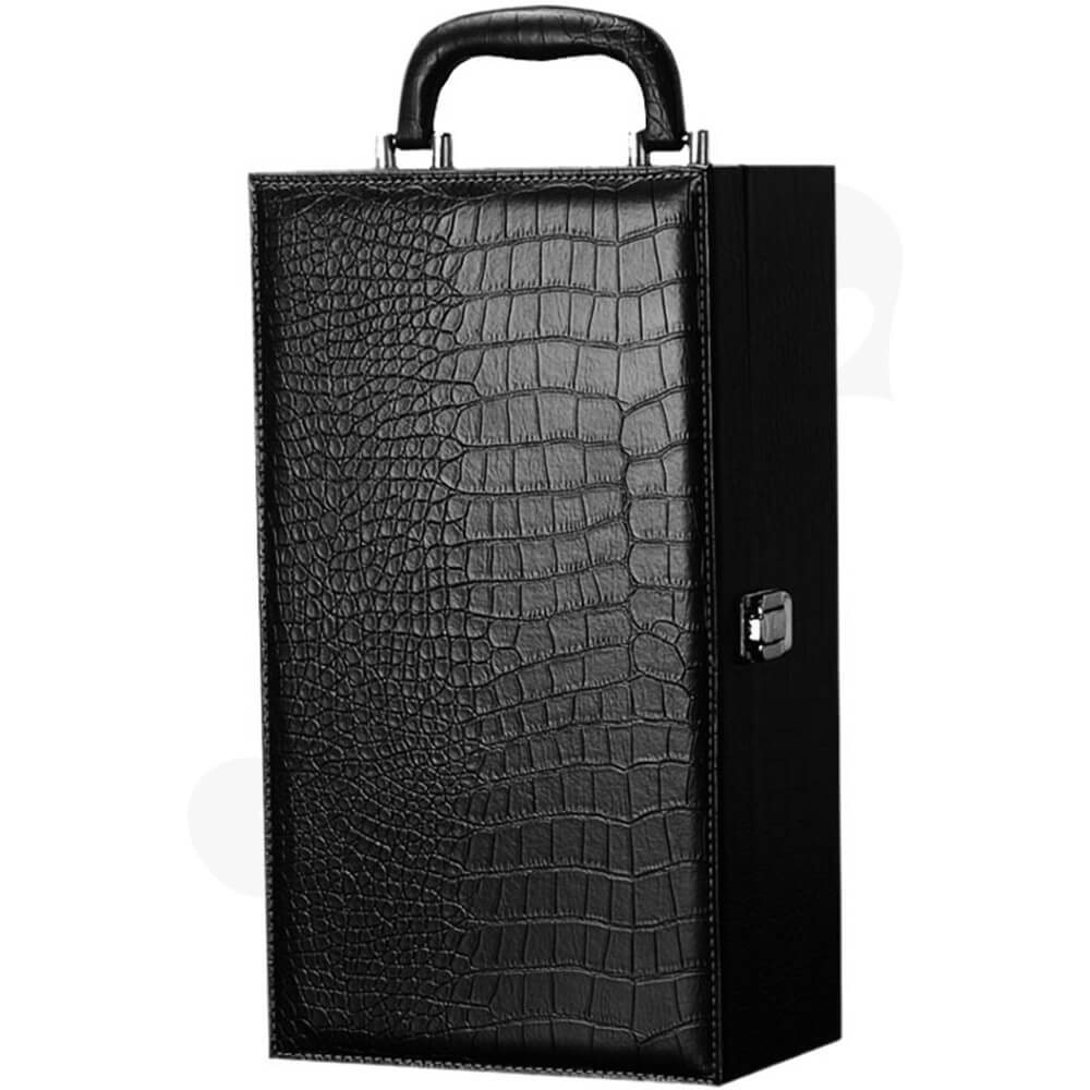 Crocodile Pattern Wine Box Kit With Handle Side View Two
