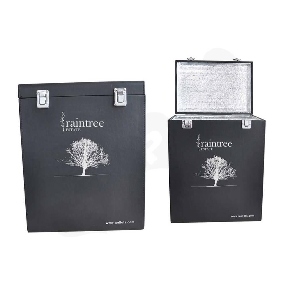 Custom Cardboard Insulated Wine Box Suitcase Side View Three