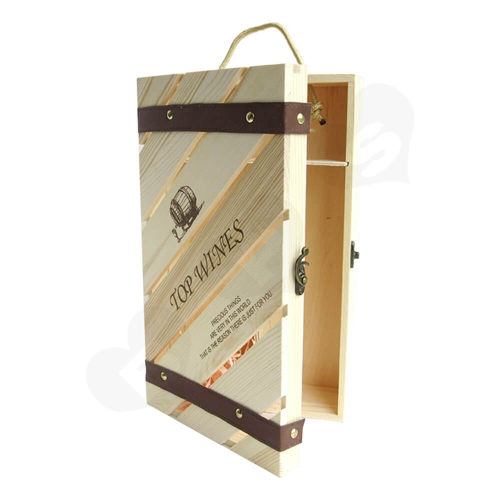 Custom Carved Wooden Box For Wine Side View Four