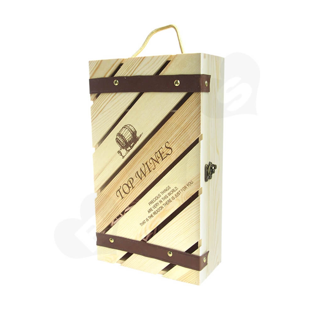 Custom Carved Wooden Box For Wine Side View One