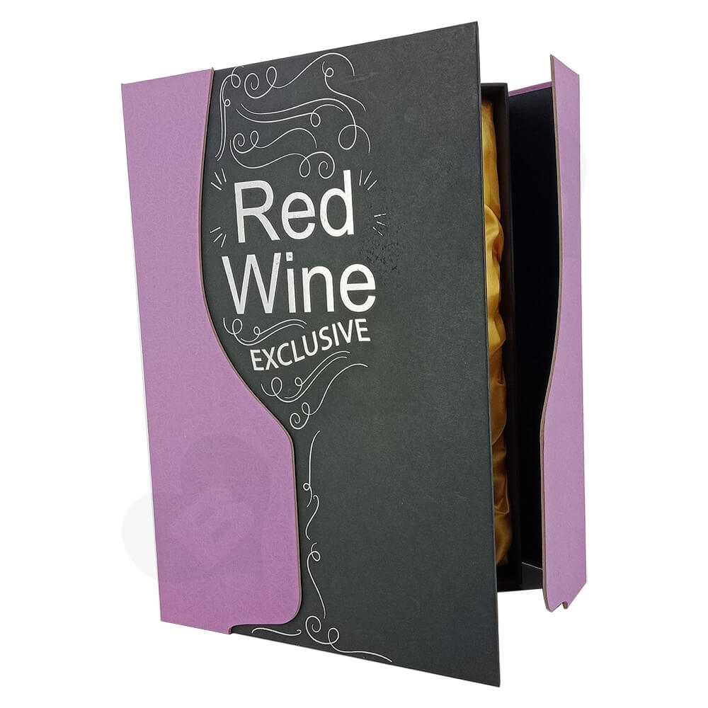 Custom Die Cut Gift Box For Red Wine Side View One
