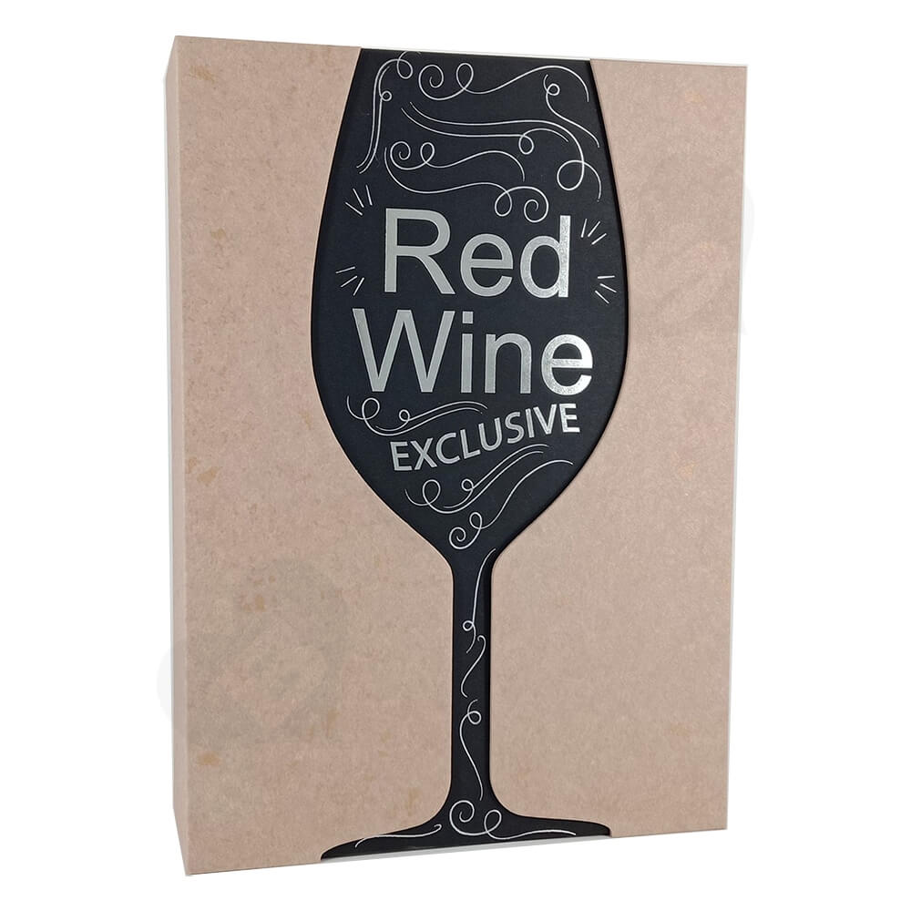Custom Die Cut Gift Box For Red Wine Side View Three