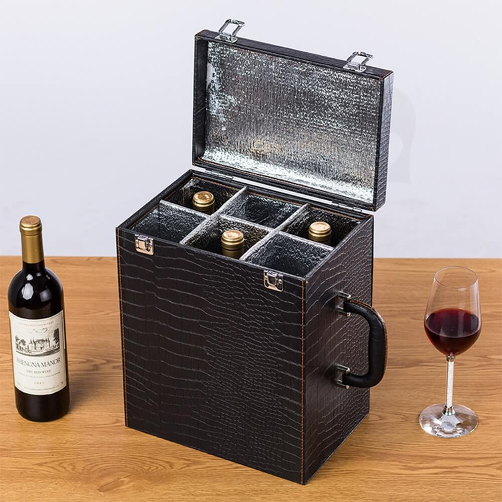 Custom Hinged Lid Insulated Cardboard Wine Boxes Side View Five