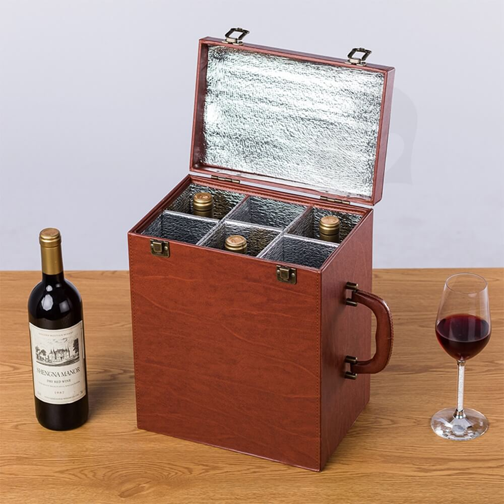 Custom Hinged Lid Insulated Cardboard Wine Boxes Side View Four