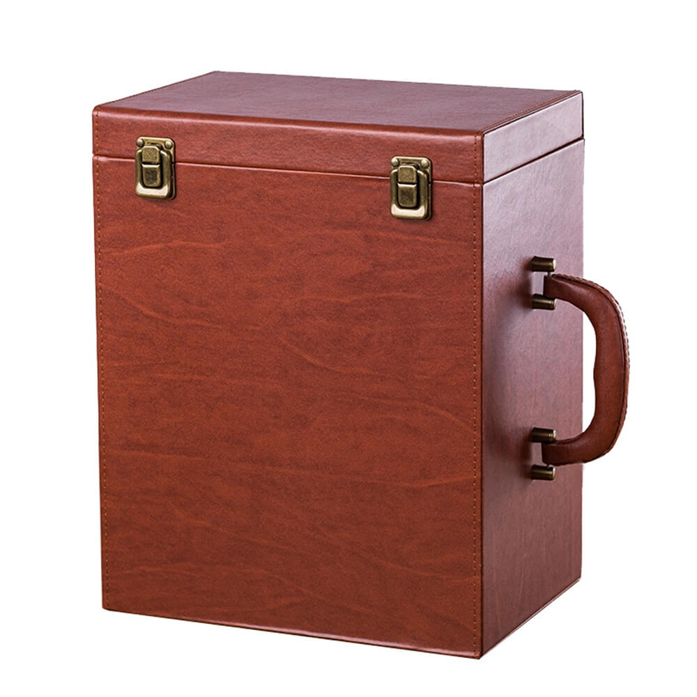 Custom Hinged Lid Insulated Cardboard Wine Boxes Side View Three