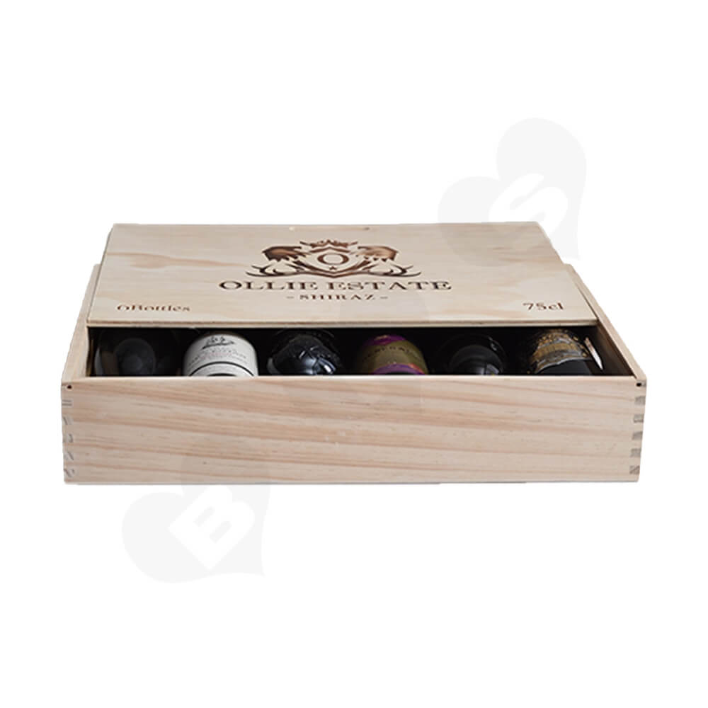 Custom Laser Printed Wine Box Side View Three