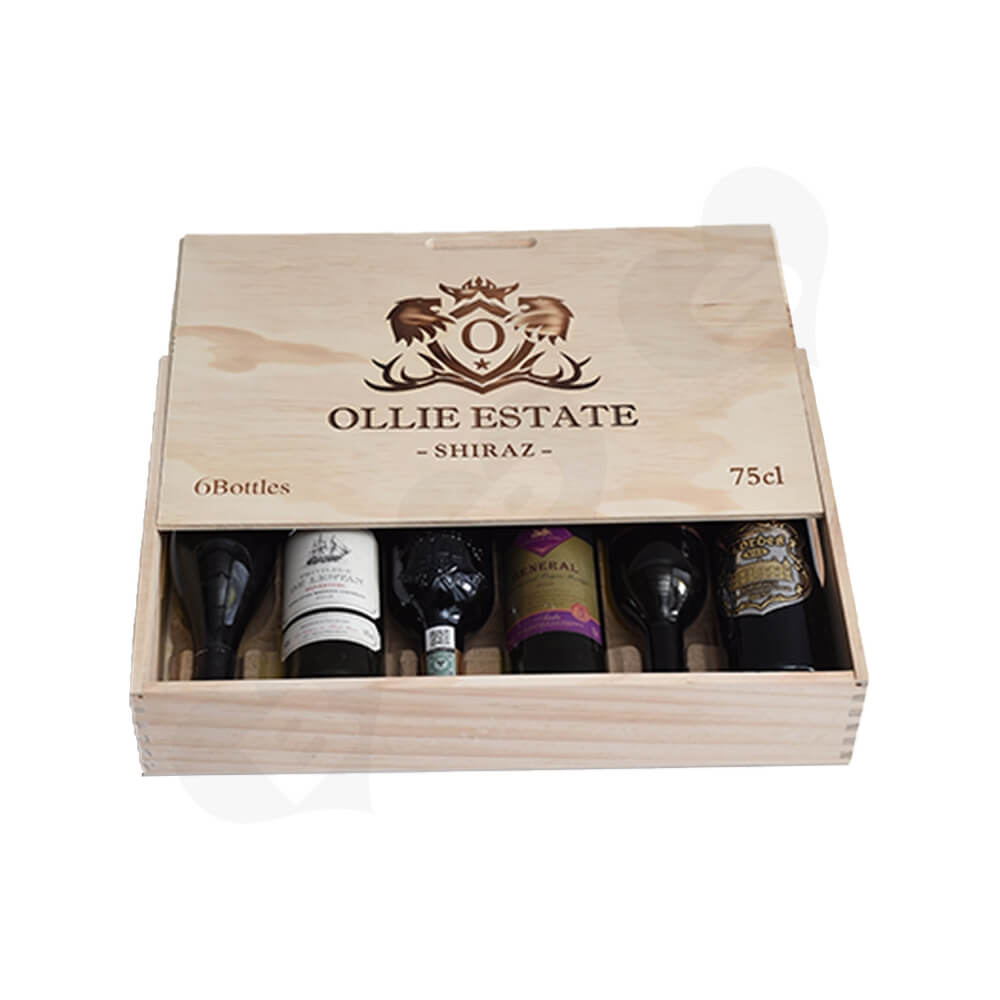 Custom Laser Printed Wine Box Side View Two