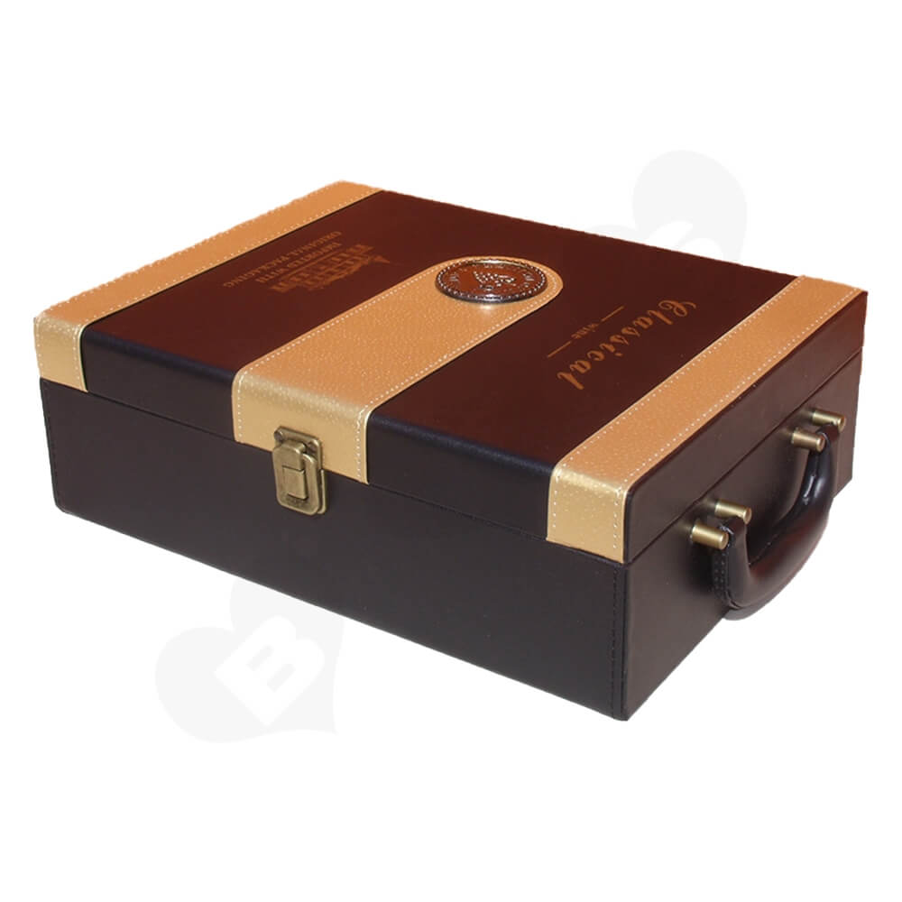 Custom Leather Box For Wine Side View Two