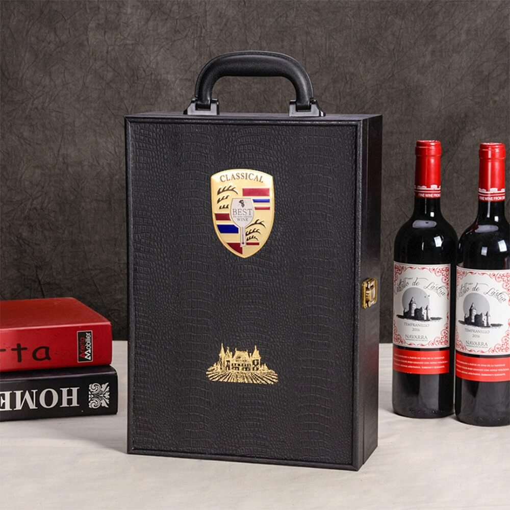 Custom Logo PU Leather Wine Box Special Pattern Side View Four