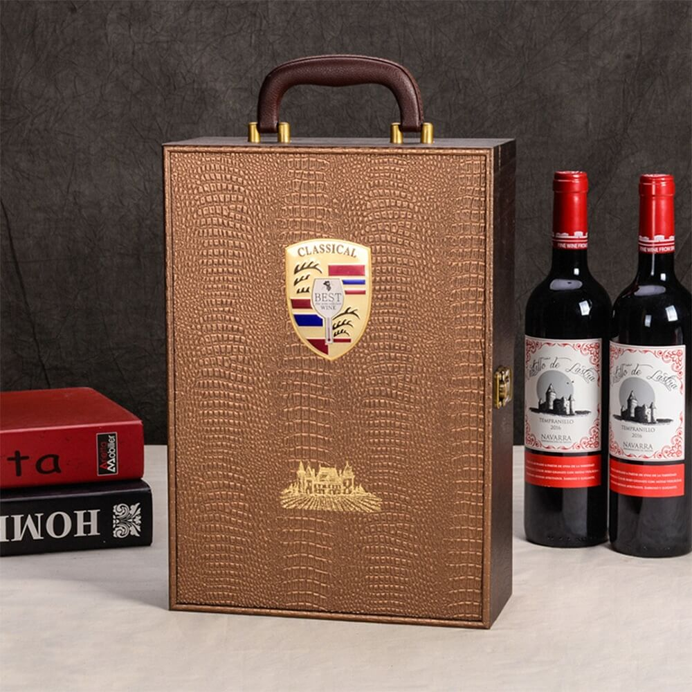 Custom Logo PU Leather Wine Box Special Pattern Side View One