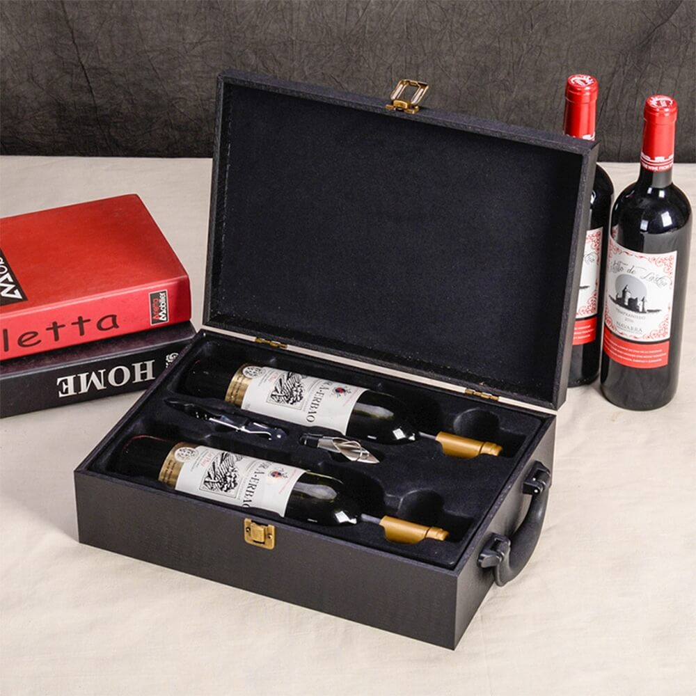 Custom Logo PU Leather Wine Box Special Pattern Side View Two