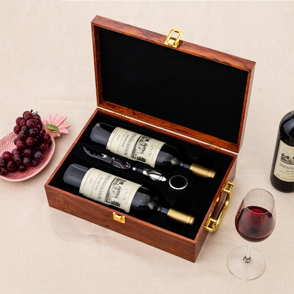 Custom Logo Painted Wooden Box For Wine Kit Side View Five