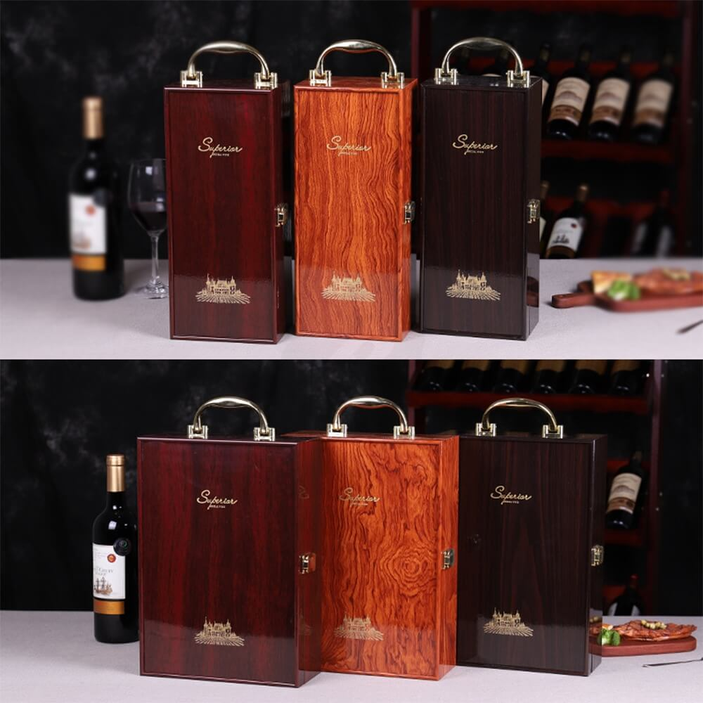 Custom Logo Painted Wooden Box For Wine Kit Side View Four