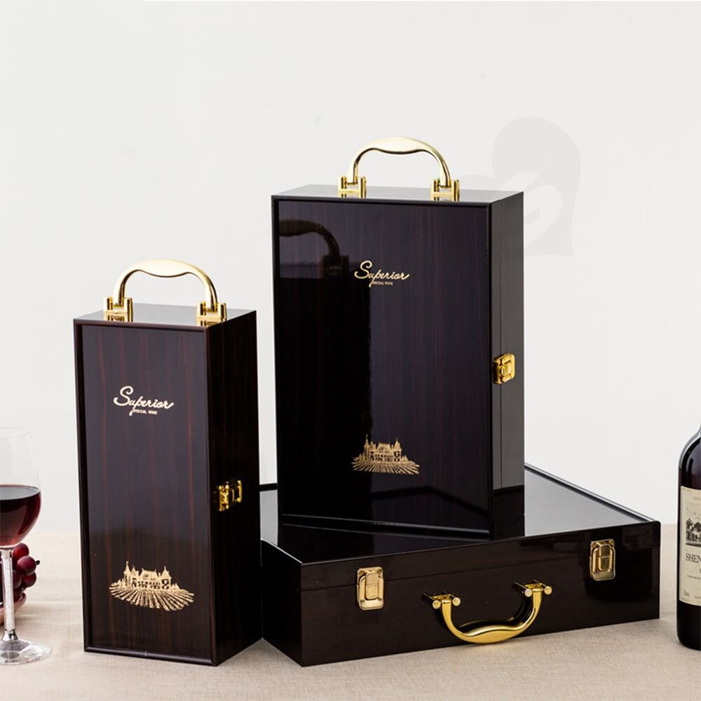 Custom Logo Painted Wooden Box For Wine Kit Side View Three