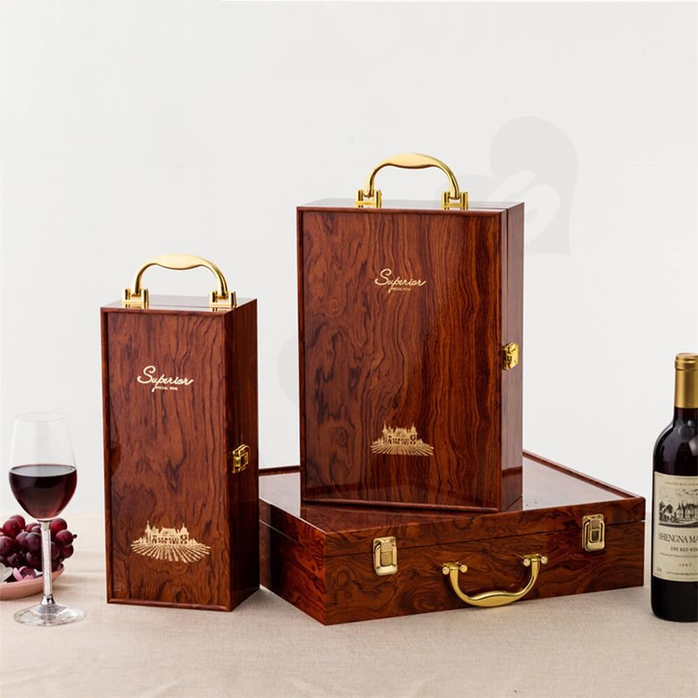 Custom Logo Painted Wooden Box For Wine Kit Side View Two