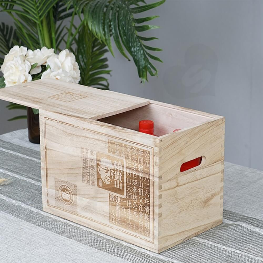Custom Printed Wooden Case For Six Pack Wine Side View Five