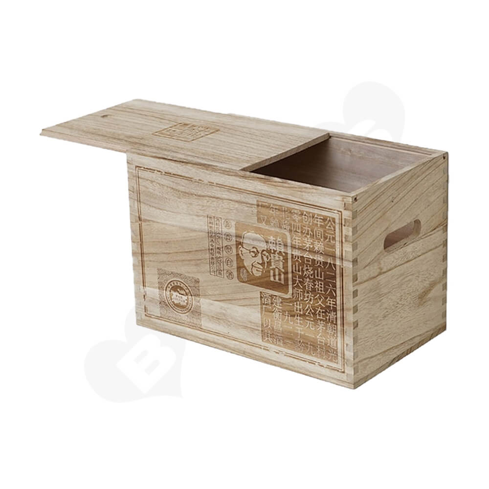 Custom Printed Wooden Case For Six Pack Wine Side View Two