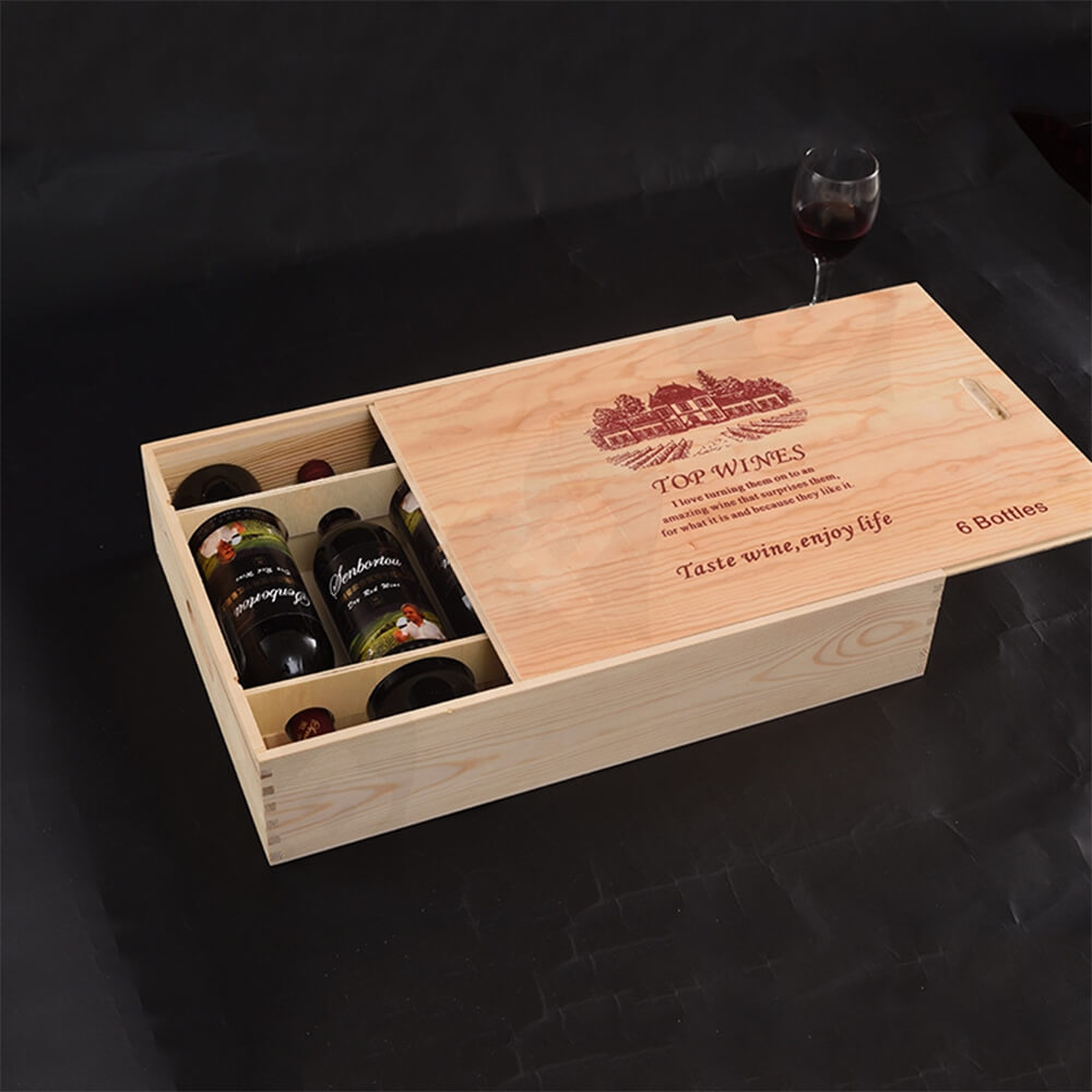 Custom Printing Wooden Wine Box With Sliding Cover Side View Four
