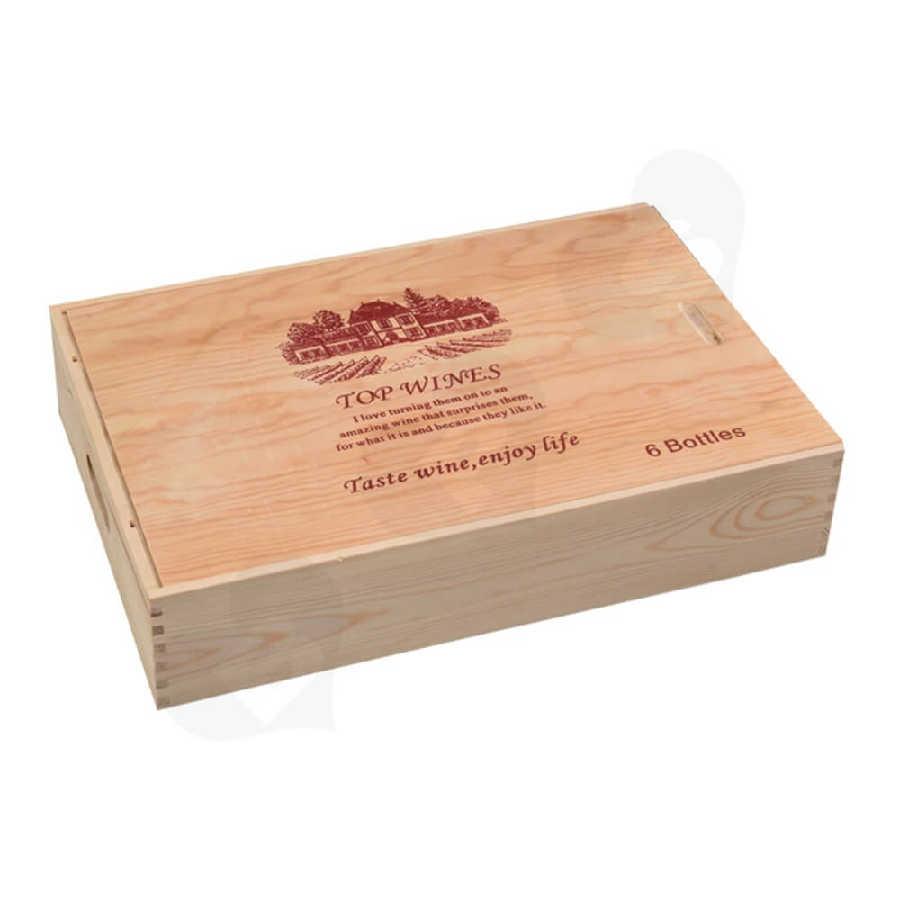 Custom Printing Wooden Wine Box With Sliding Cover Side View One