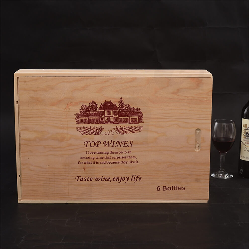 Custom Printing Wooden Wine Box With Sliding Cover Side View Three