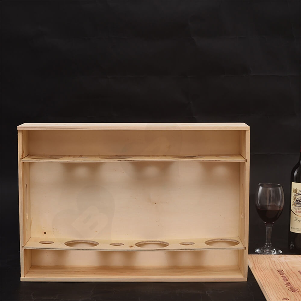 Custom Printing Wooden Wine Box With Sliding Cover Side View Two