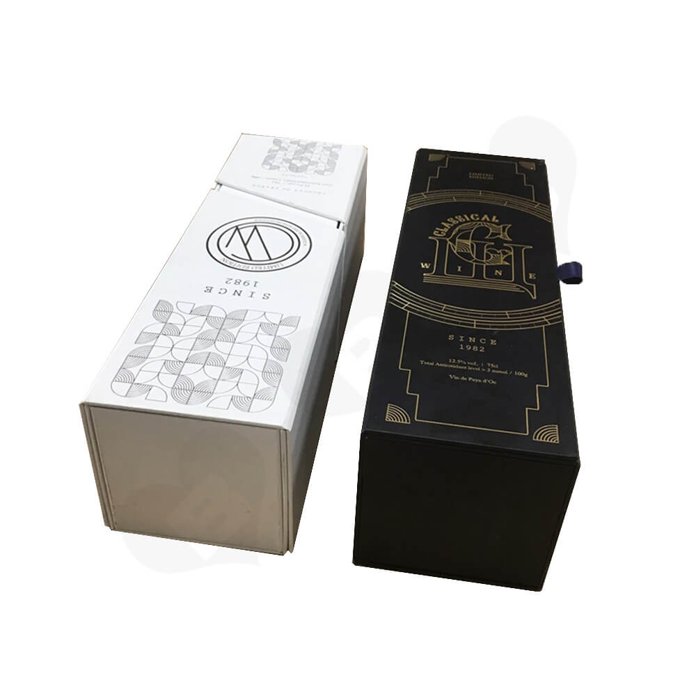 Custom Rigid Cardboard Magnetic Box For Single Wine Bottle Side View Four