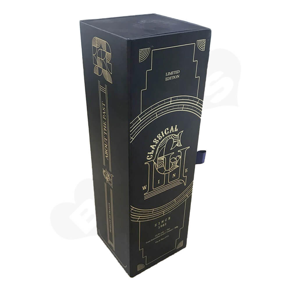 Custom Rigid Cardboard Magnetic Box For Single Wine Bottle Side View One