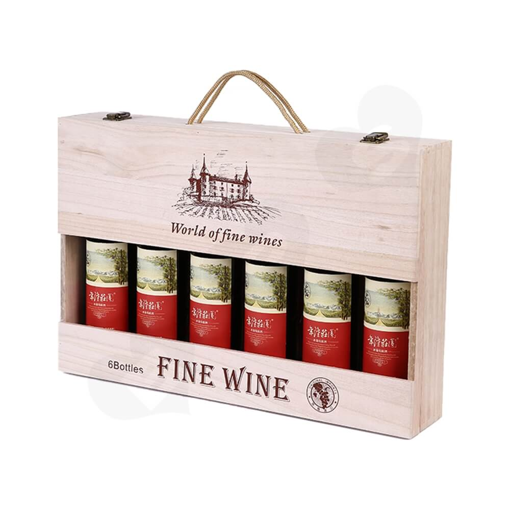 Custom Silk cPrinting Wooden Box For Six Pack Wine Side View One