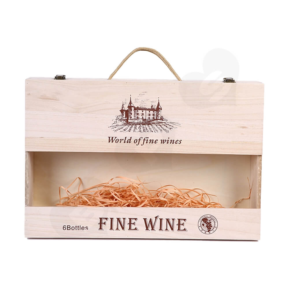 Custom Silk Screen Printing Wooden Box For Six Pack Wine Side View Three