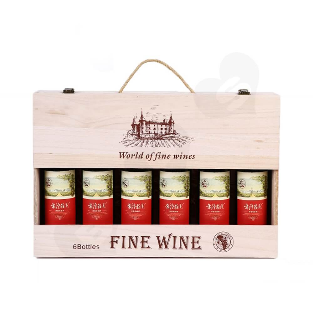 Custom Silk Screen Printing Wooden Box For Six Pack Wine Side View Two