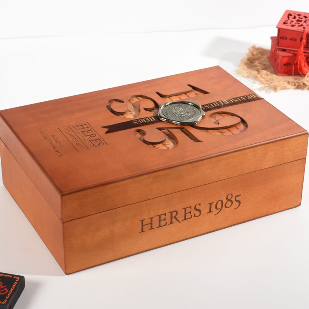 Custom Wooden Box With Cut Out Logo And Velvet Cushion Side View Three