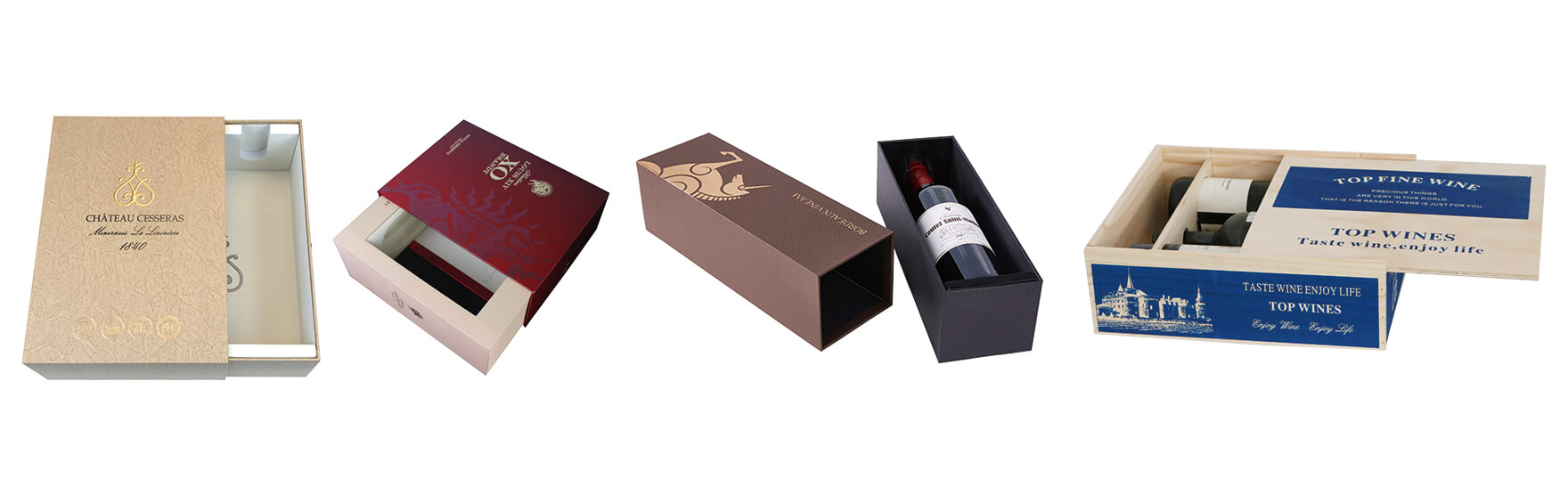 Drawer Style Box For Packing Wine Bottle
