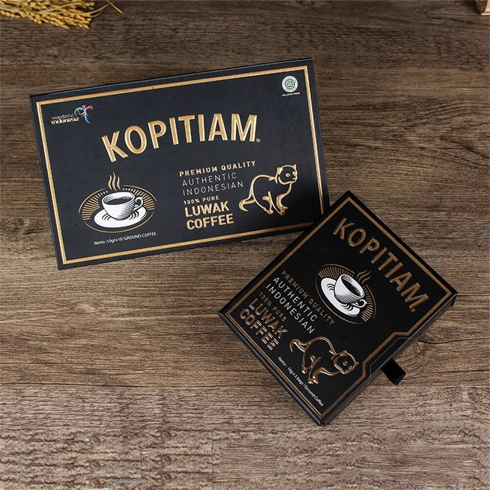 3D gold Foil Stamping Cardboard Drawer Box For Luwak Coffee Side View Four