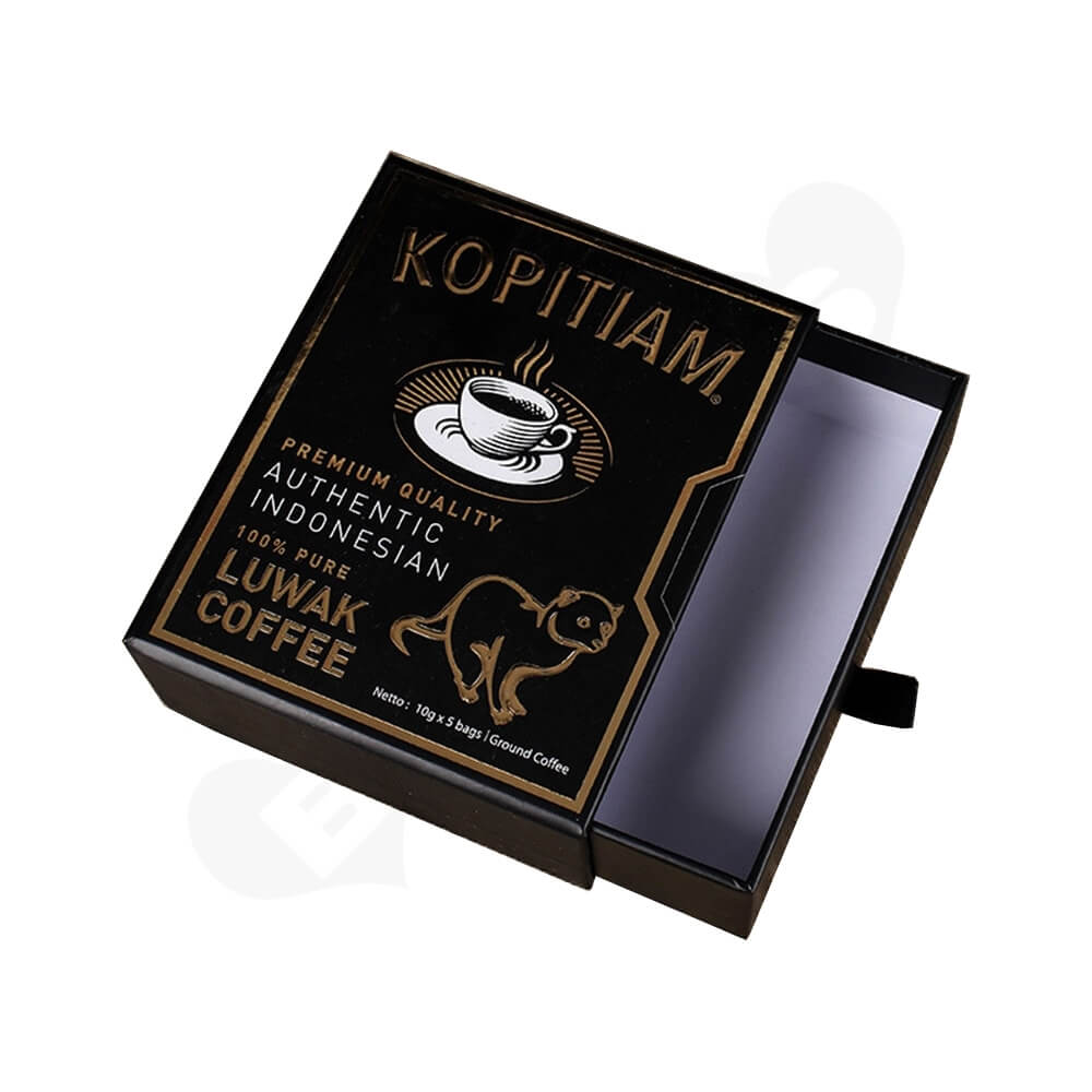 3D gold Foil Stamping Cardboard Drawer Box For Luwak Coffee Side View One